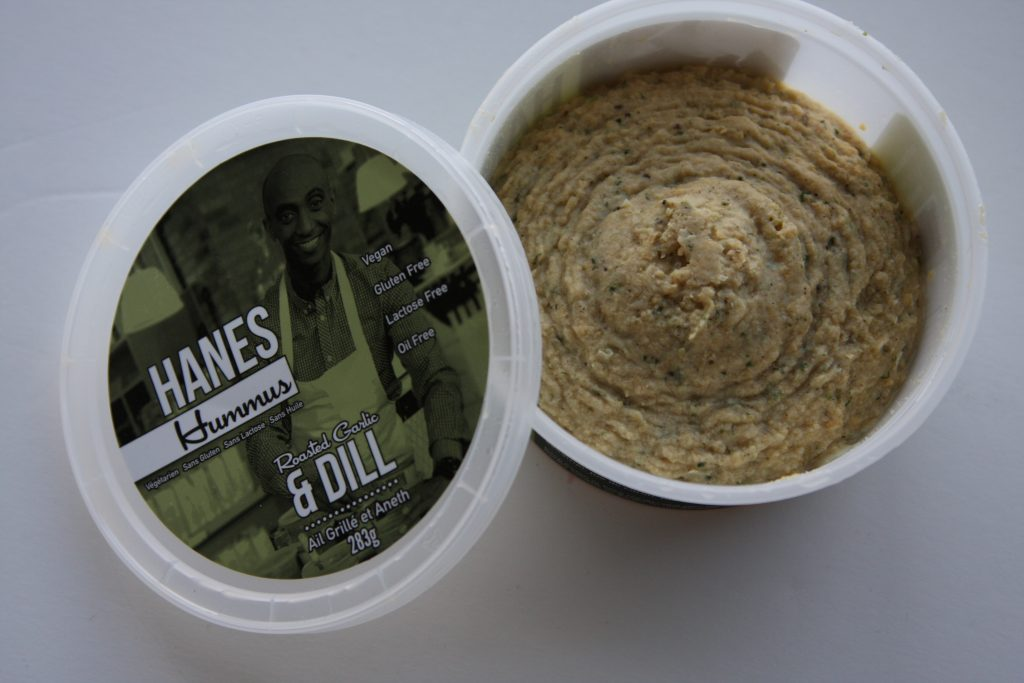 Hanes Hummus roasted garlic & dill open