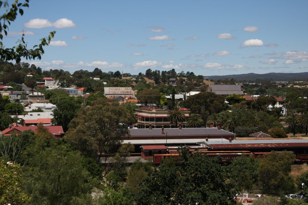 Castlemaine train station and part of the city from the hill above