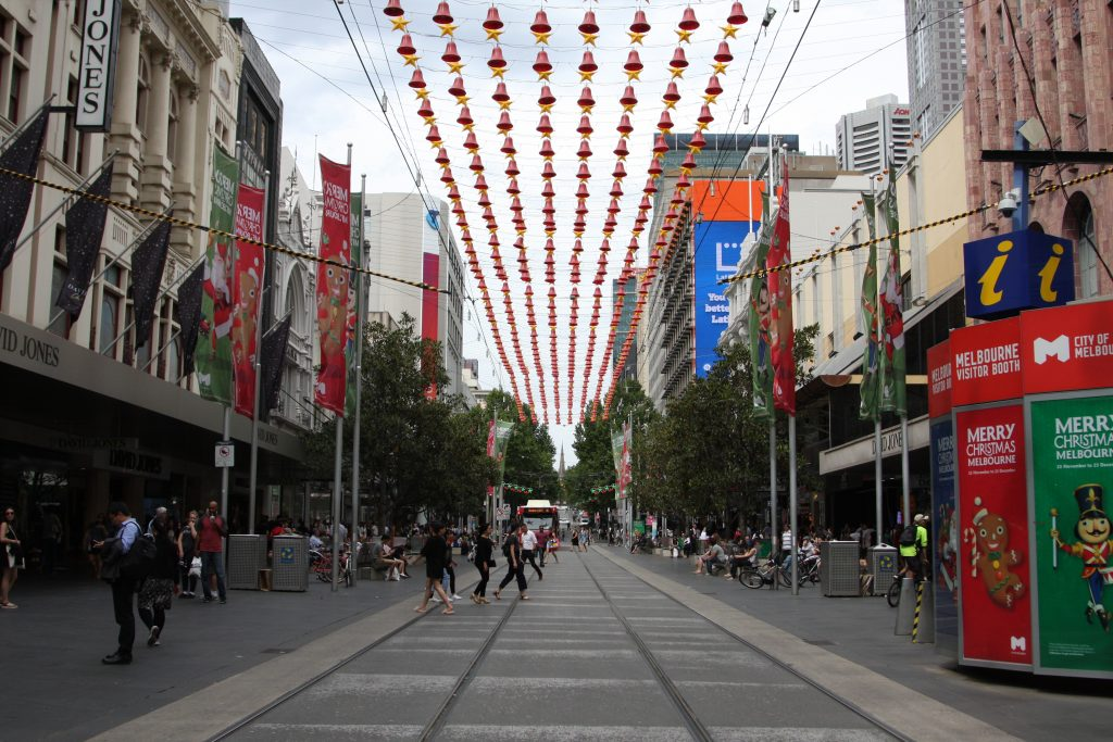 Bourke Street Mall decorated for Christmas 2016