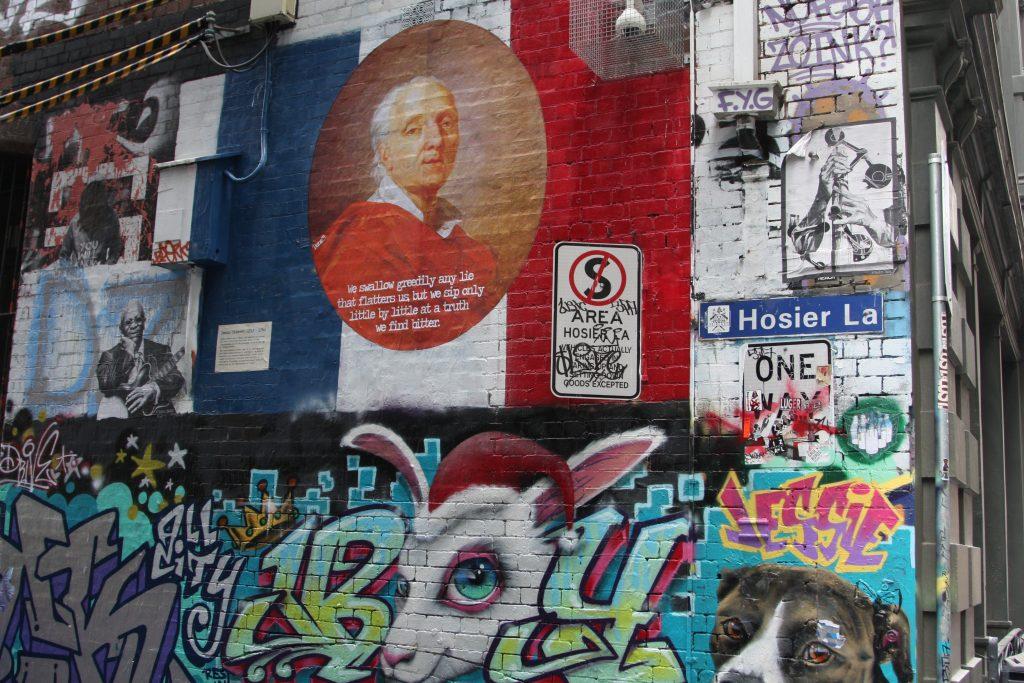 Graffiti on a building wall in Hosier Lane in Melbourne