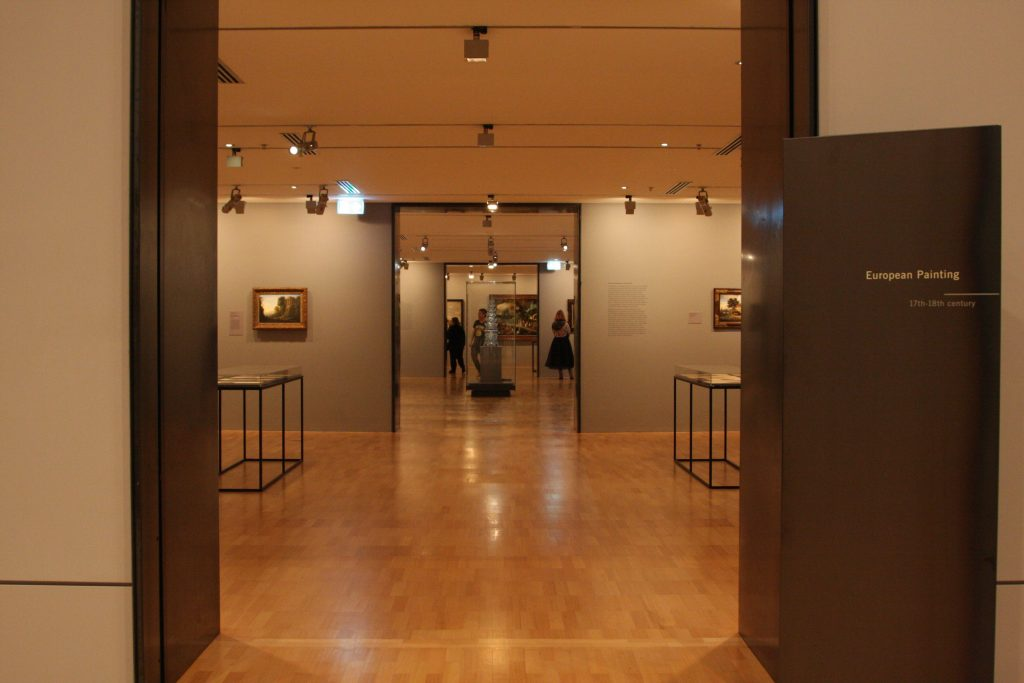 looking through the doors into several galleries at the NGV