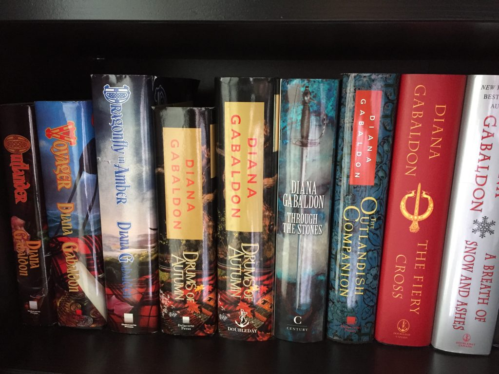 Diana Gabaldon Book Collection of Hardcover Books on Book Shelf - favourite authors