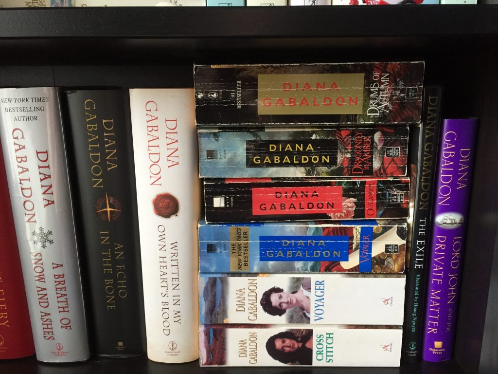Diana Gabaldon Assorted Book Collection on book shelf - favourite authors
