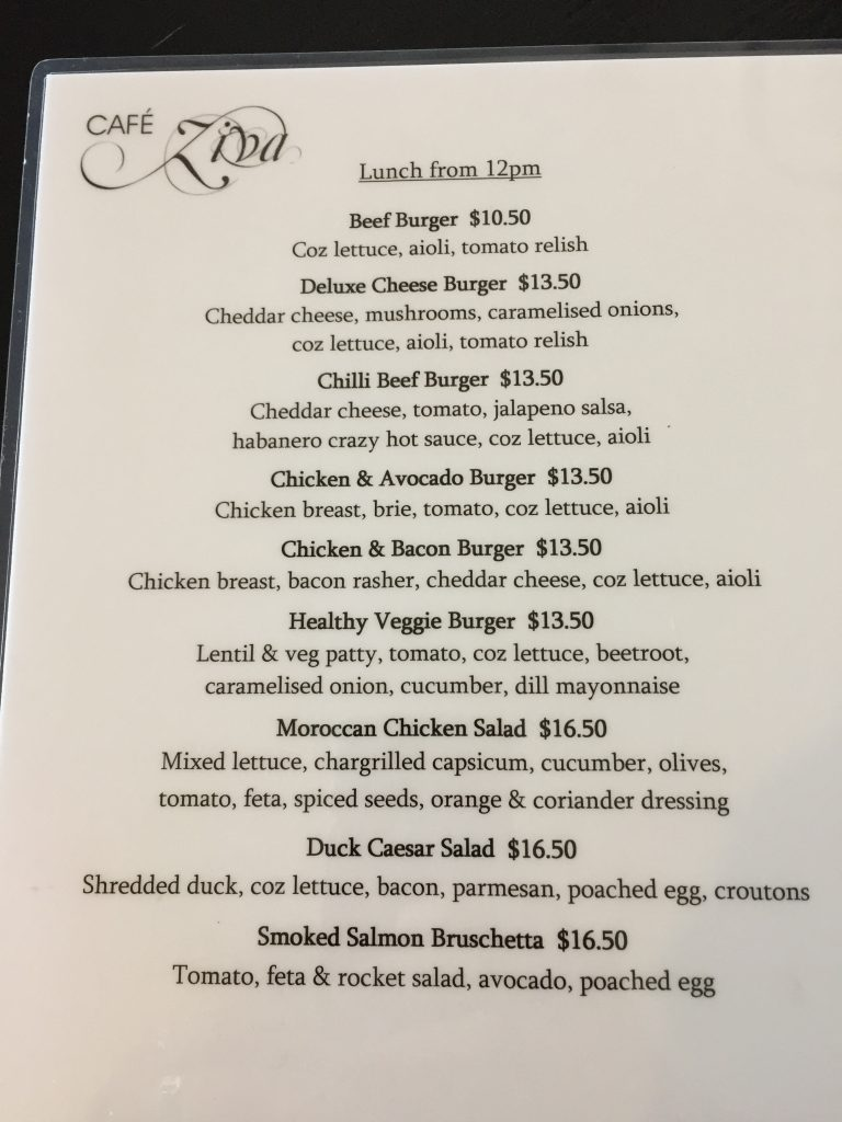 Cafe Ziva menu in Port Douglas