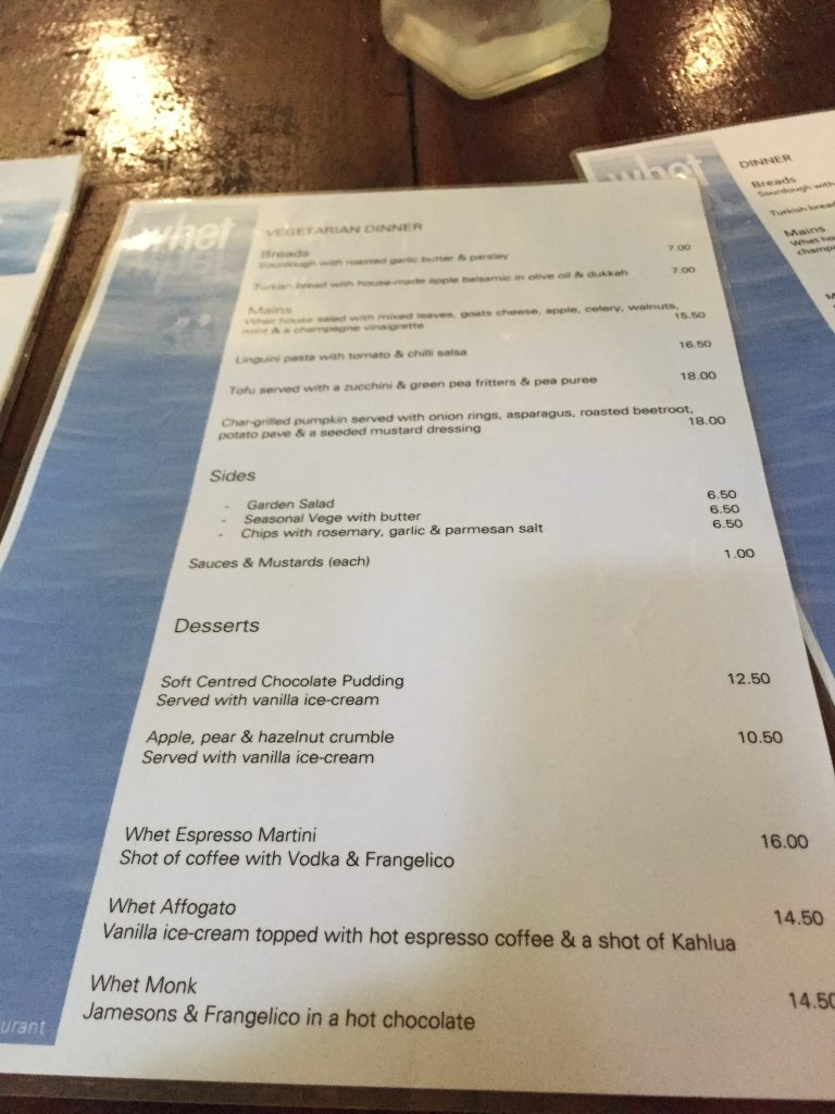 menu from Whet in the Daintree Rainforest