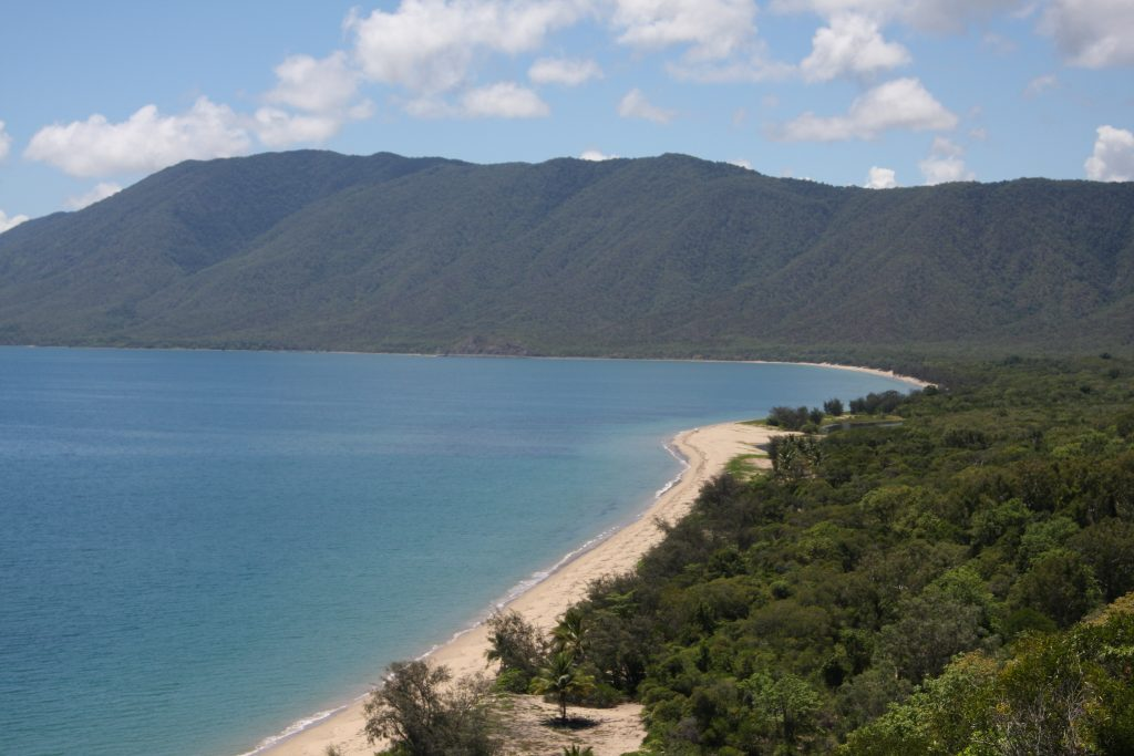 view of Daintree Rainforest, beach and ocean from above