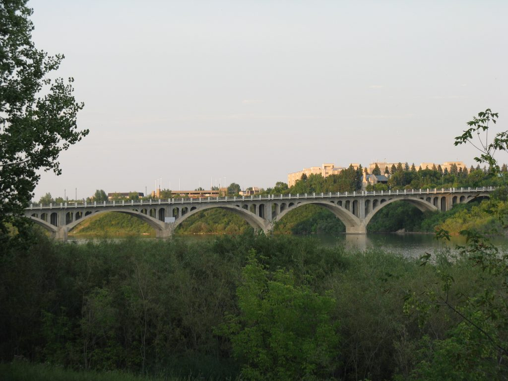 view across the river including a bridge in Saskatoon