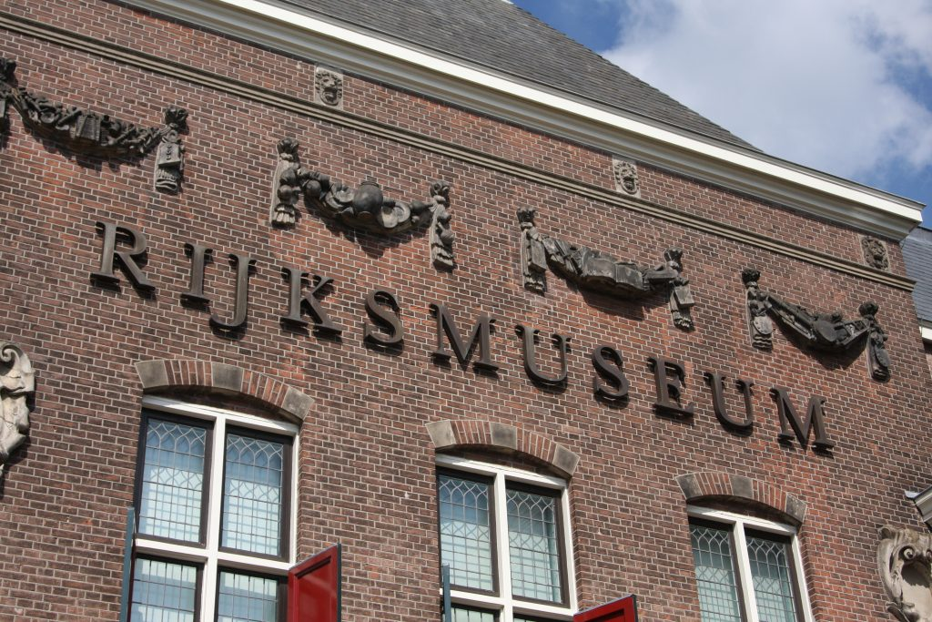 Rijksmuseum sign on the building in Amsterdam