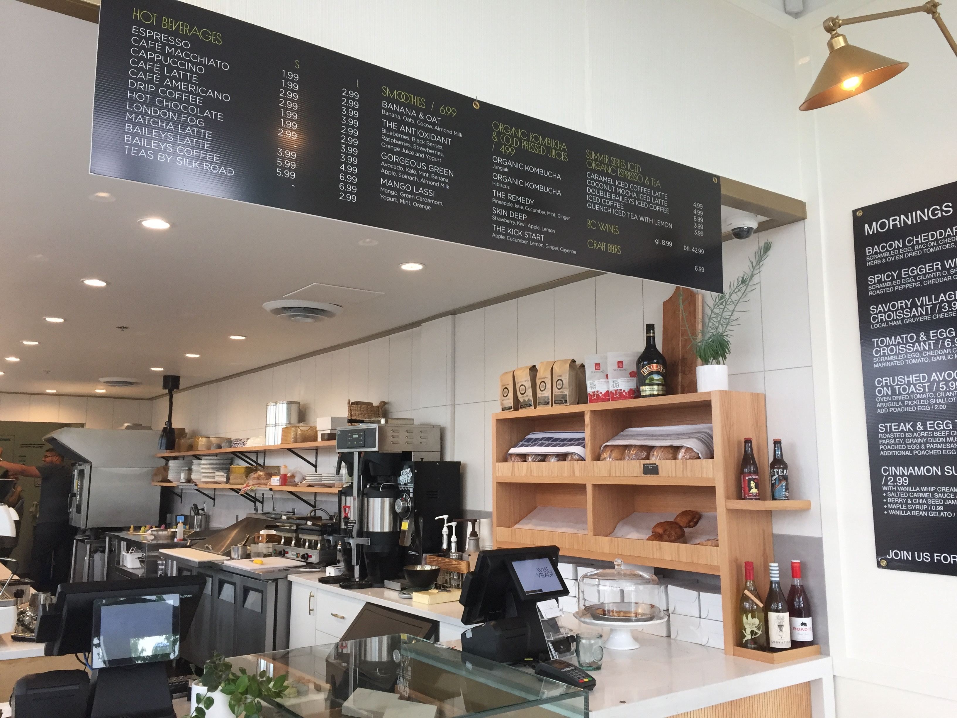 West Village Cafe Food Area and Drink Menu