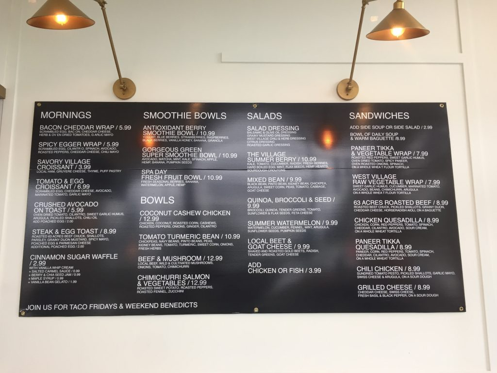 West Village Cafe Food Menu