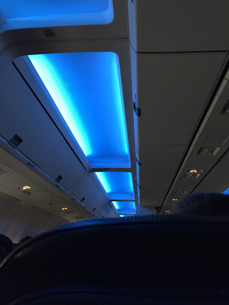 Calming Blue Lights in the ceiling of the Westjet Airplane to London
