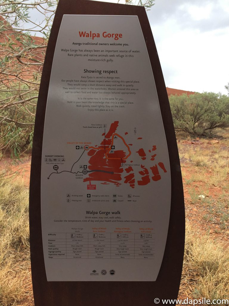 Walpa Gorge sign tour from Alice Springs to Uluru