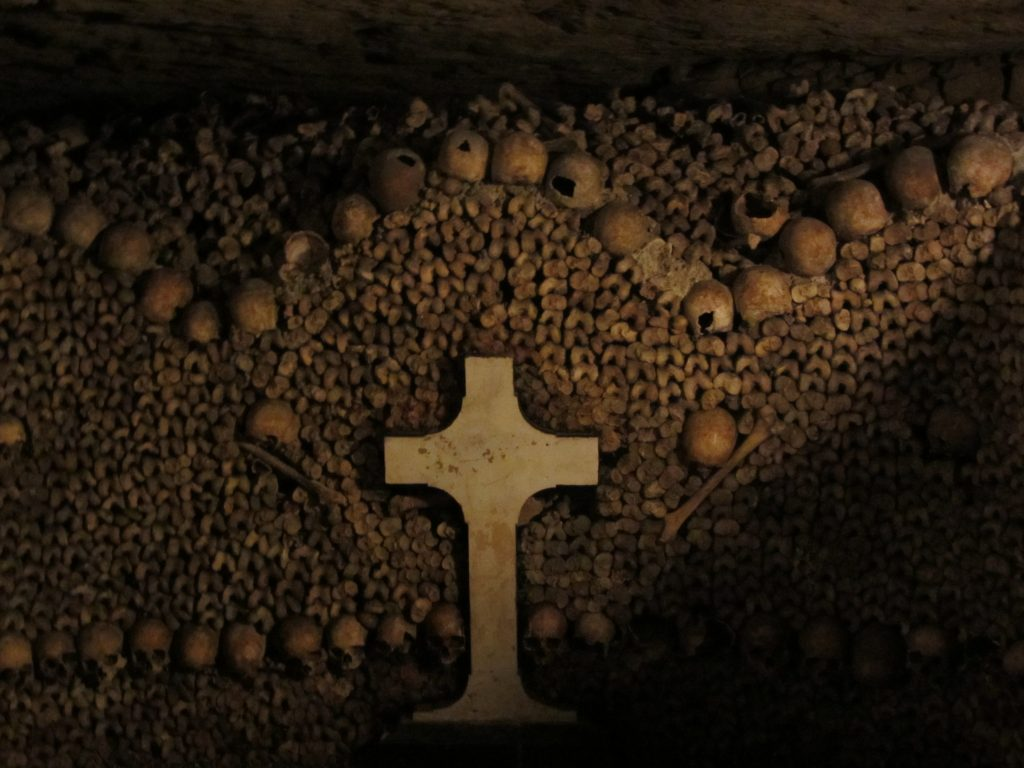 Bones with a Cross in the Catacombs of Paris