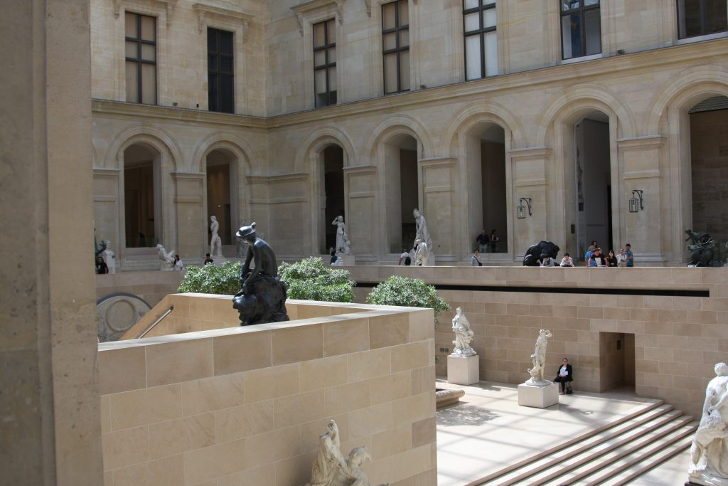 Part of the Area in the Louvre Containing Marble Statues in Paris