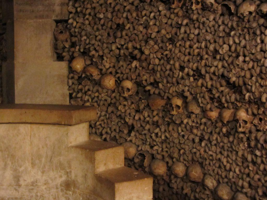 Wall of Bones in the Catacombs in Paris