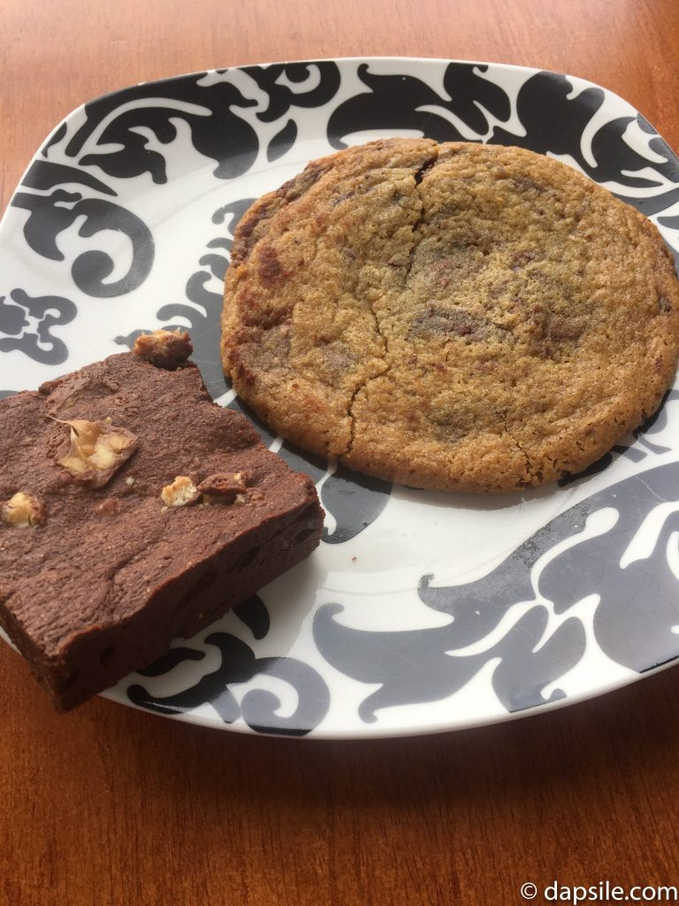 Half Baked Cookie Co Snickers Brownie and Chocolate Chip Cookie