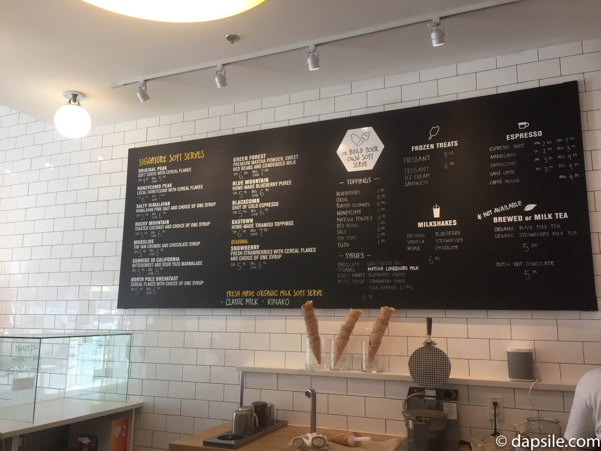 Soft Peaks Soft Ice Cream menu in Burnaby