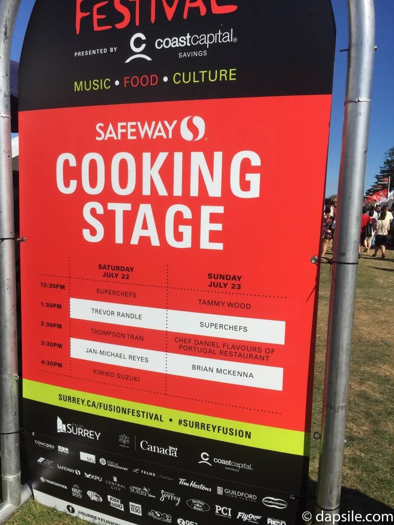 Surrey Fusion Festival 2017 Cooking Stage Schedule