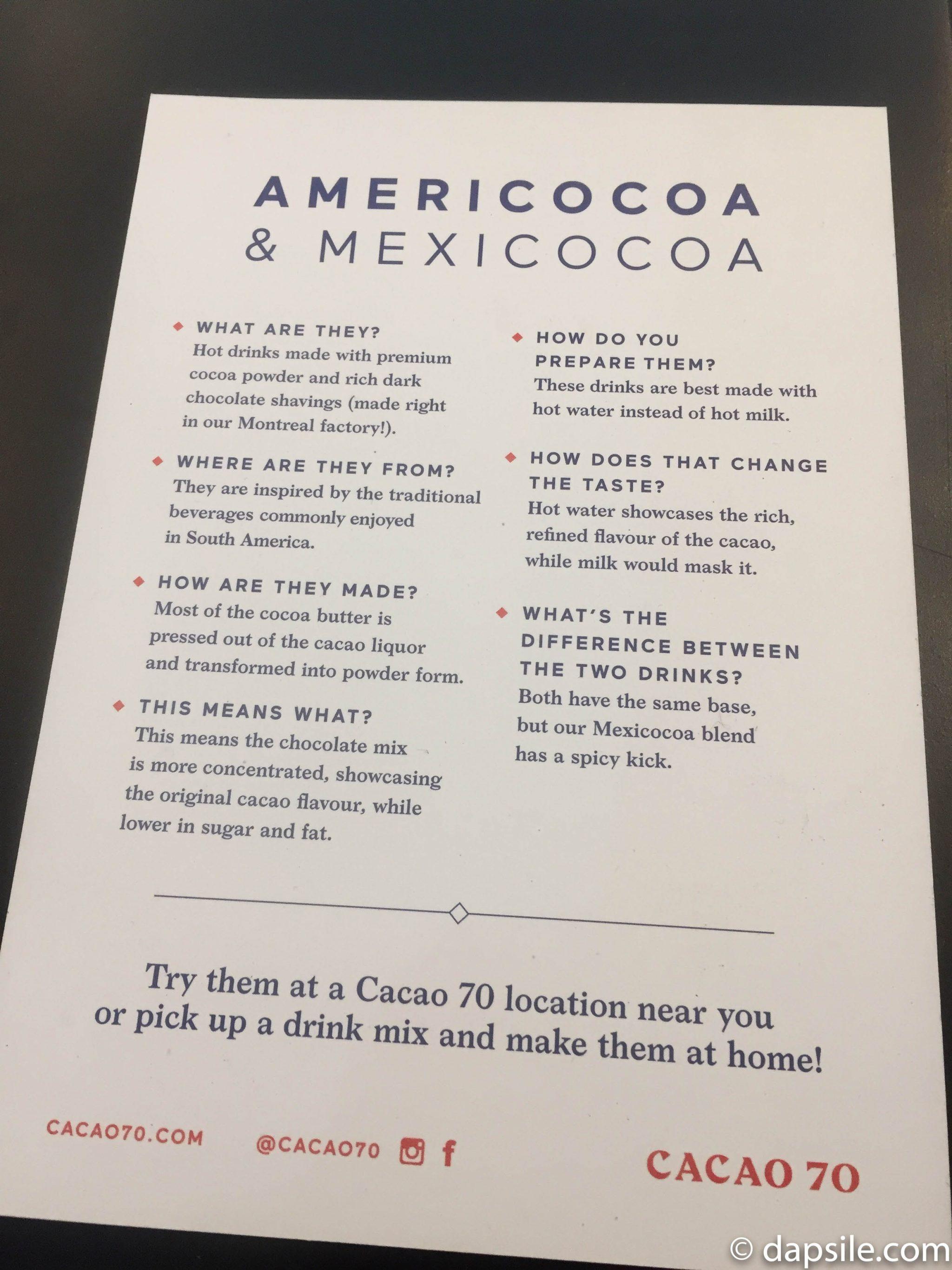 Americocoa & Mexicocoa Pamphlet Description