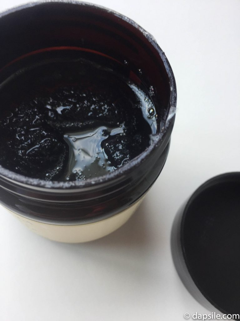 Looking into the Jaboneria Marianella Hawaiian Black Lava Body Caviar jar