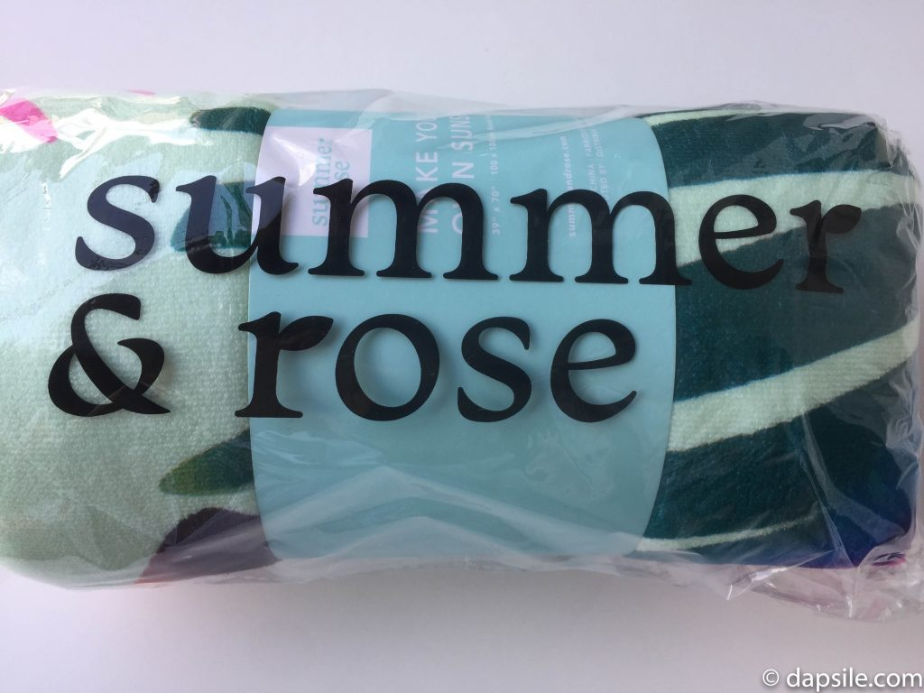 Summer & Rose Palm Print Beach Towel from the FabFitFun Summer 2018 box still wrapped up