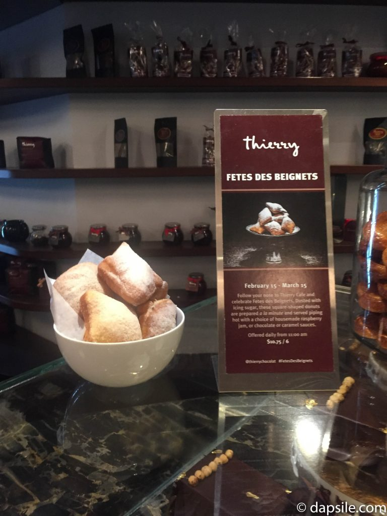 Thierry Cafe and Chocolate Shop Fetes Des Beignets with sign