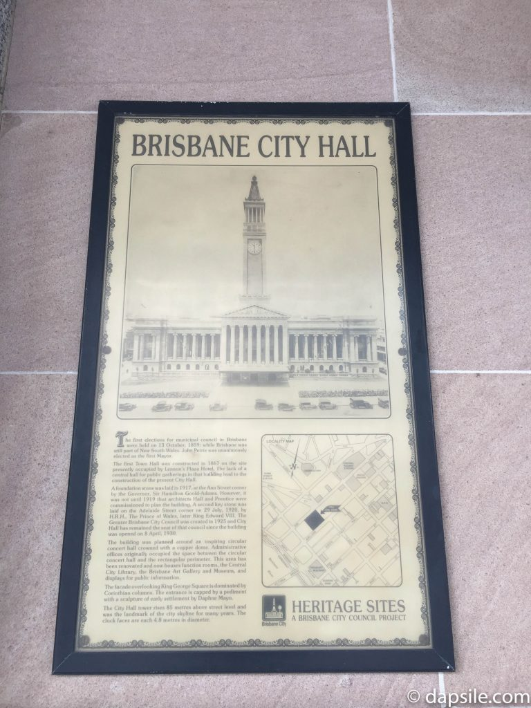 Brisbane City Hall Sign with history