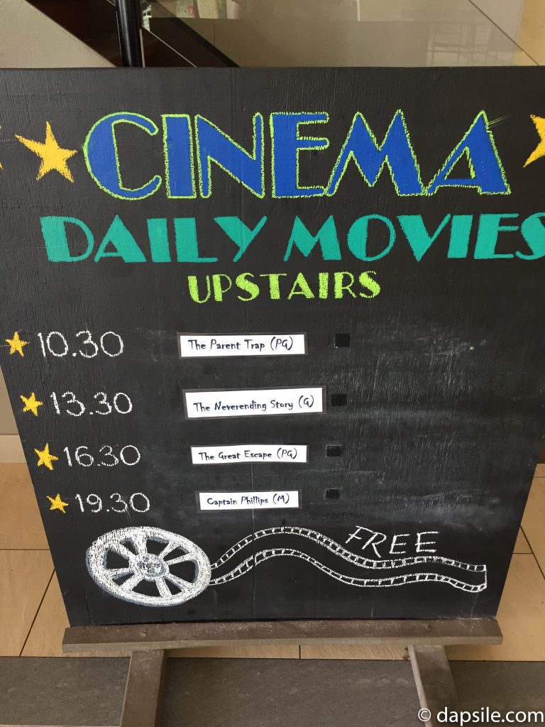 Cinema Movie Schedule at Fitzroy Island Resort