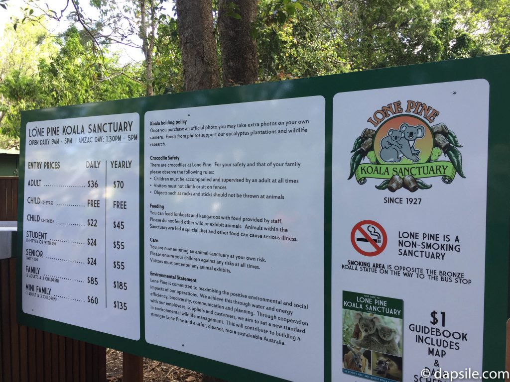 Lone Pine Info Sign with prices and policies from January 2017