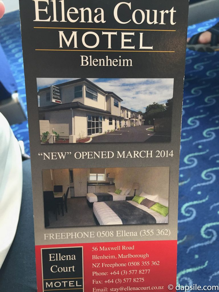 Ellena Court Motel Flyer in Blenheim driving from Christchurch to Wellington New Zealand