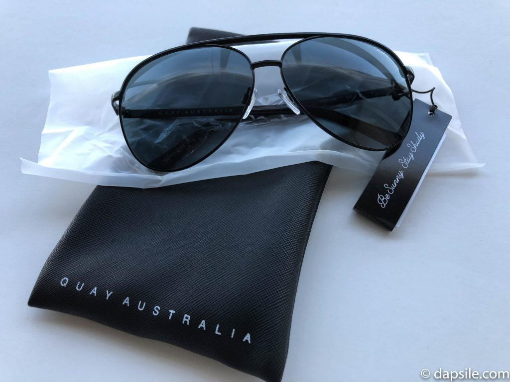 Quay Australia Sunglasses opened from carry bag