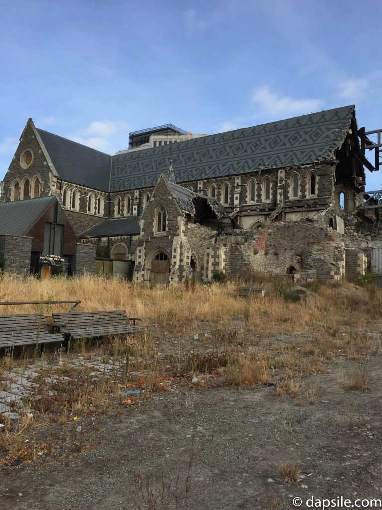 damaged Christchurch Cathedral from the side