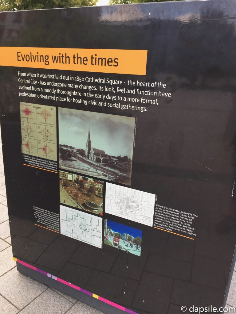 Earthquake Evolving with Times Sign in Christchurch Cathedral Square