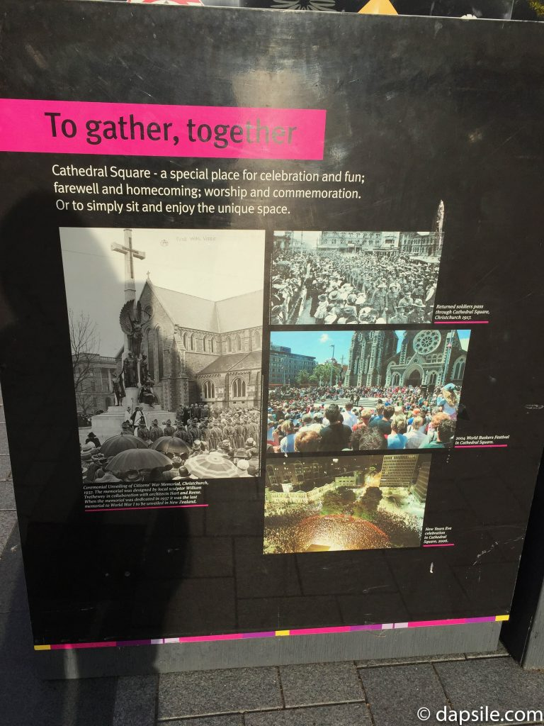 Earthquake Gather Together Sign in Christchurch Cathedral Square