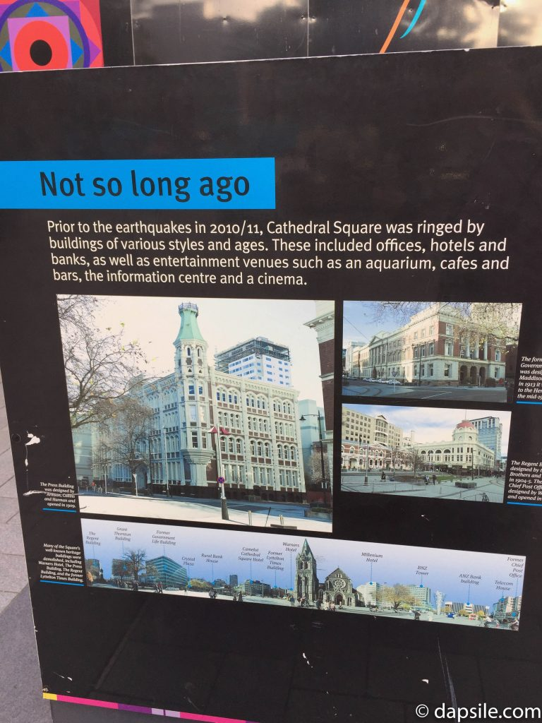 Earthquake Not Long Ago sign in Christchurch Cathedral Square