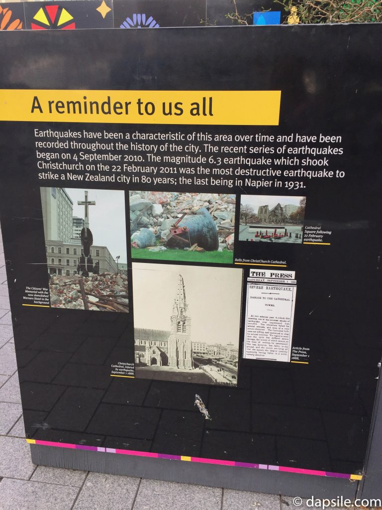 Earthquake Reminder to All Sign in Christchurch Cathedral Square
