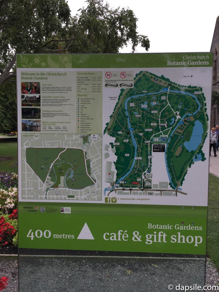 Christchurch Botanic Gardens Map