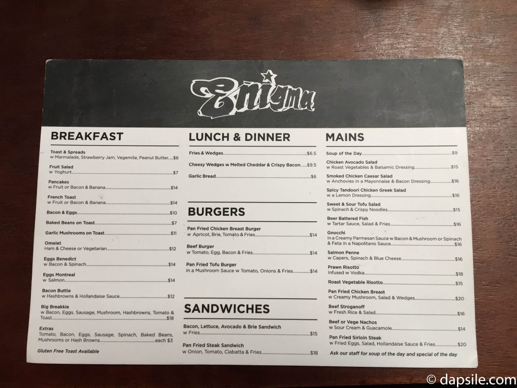 Enigma Cafe Menu in Wellington New Zealand