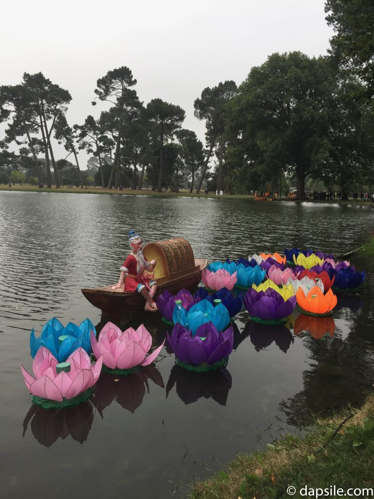 Flower Lanterns in Pond at Christchurch Lantern Festival