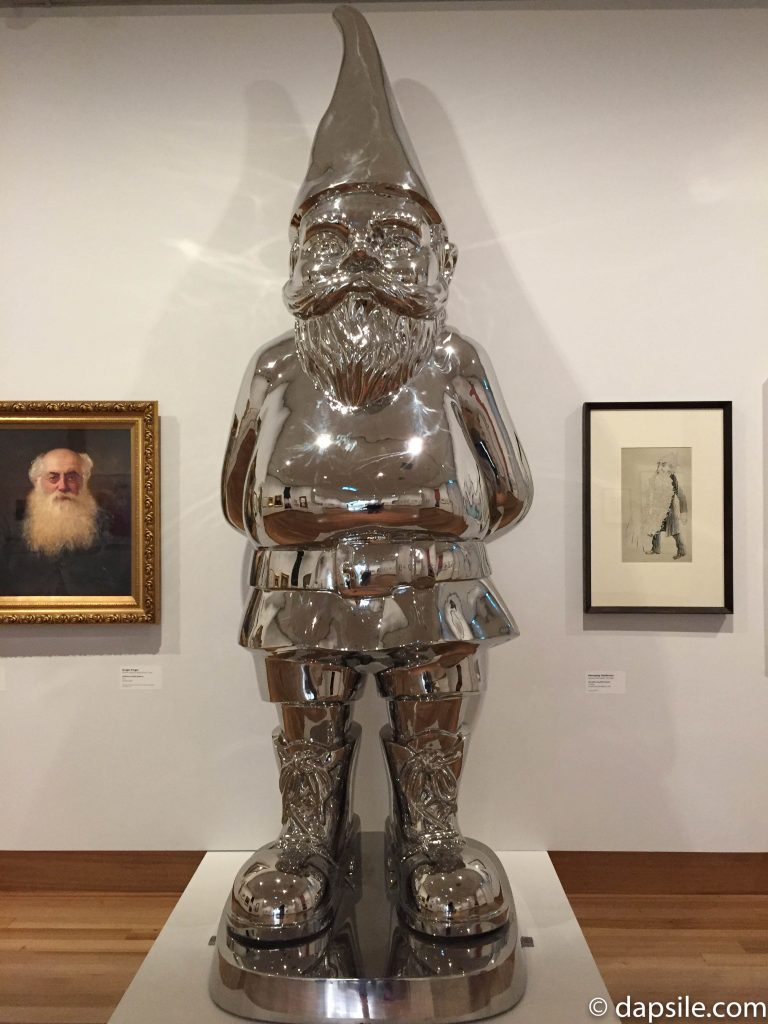 Giant metal Gnome in Christchurch Te Puna o Waiwhetu Art Gallery