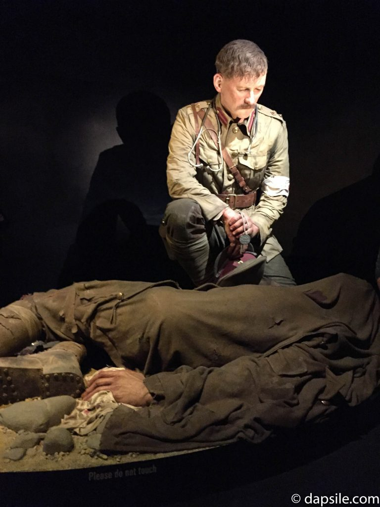 Soldier Grief Statue in Gallipoli Exhibit in Museum of New Zealand Te Papa Tongarewa in Wellington New Zealand