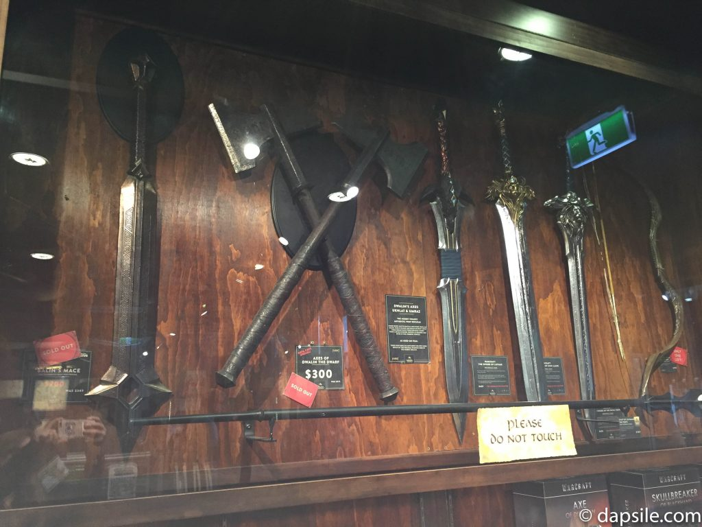 weapons display inside the store Inside Weta Workshop