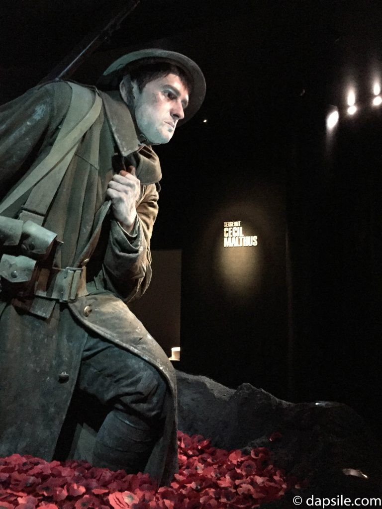 Soldier and Poppies Statue in Gallipoli Exhibit in Museum of New Zealand Te Papa Tongarewa