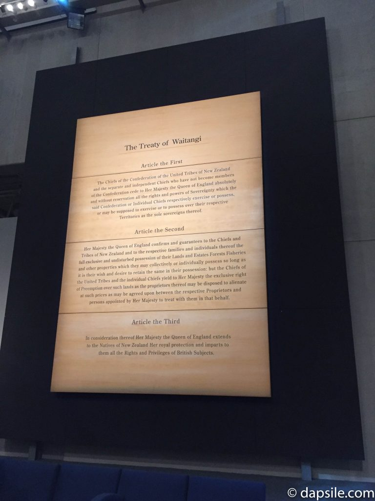 The Treaty of Waitangi Sign in Museum of New Zealand Te Papa Tongarewa