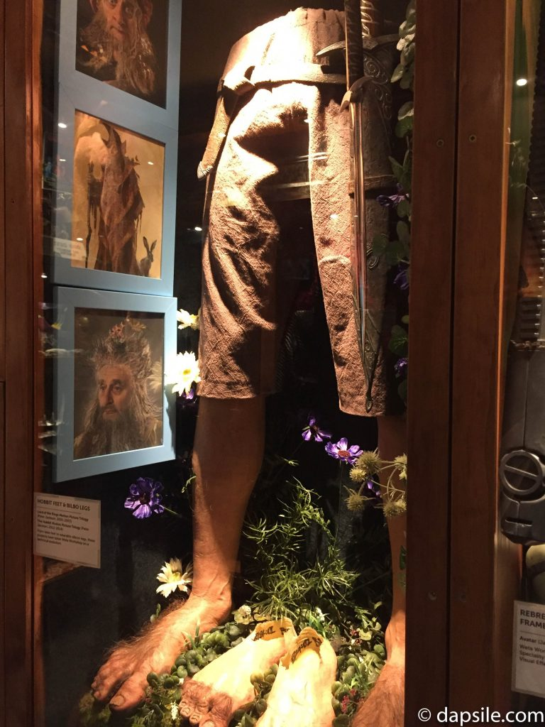 feet costume from Hobbit movie inside the store at the Weta Cave Workshop Tour