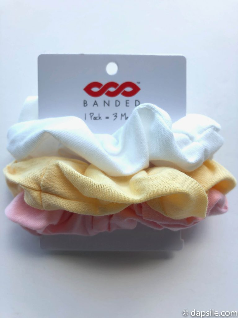 Banded2Gether 3-pack of hair scrunchies showing the colours and material received