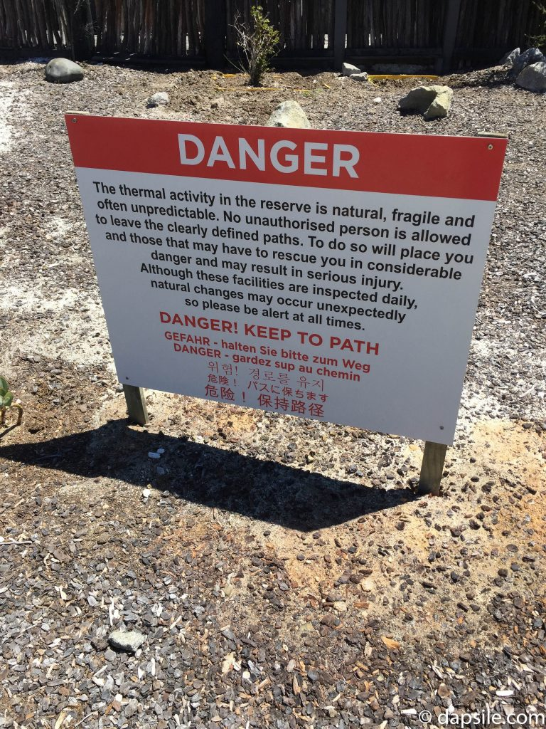 Danger Sign talking about thermal activity at Hell's Gate