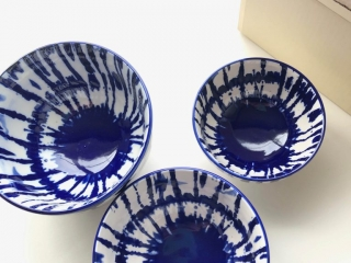 West Elm Indigo Tie-Dye Bowls from the top
