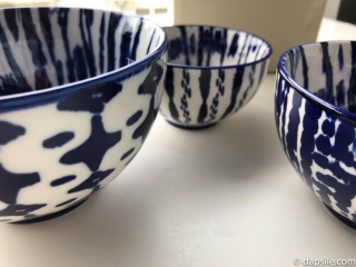 West Elm Indigo Tie-Dye Bowls showing size with InvisiBobbles side view showing patterns