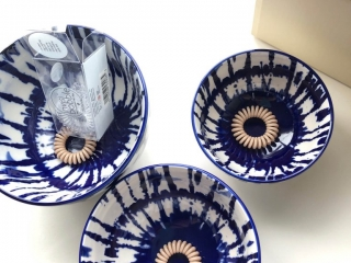 West Elm Indigo Tie-Dye Bowls from the top showing size with InvisiBobbles